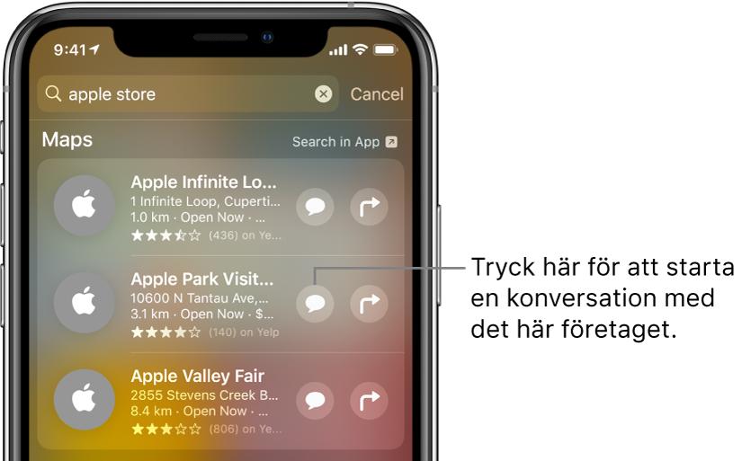 Sökskärmen med hittade objekt för Kartor. Varje objekt visar en kort beskrivning, betyg eller adress och varje webbplats visar en webbadress. Det andra objektet har en knapp som användaren kan trycka på för att starta en kundchatt med AppleStore.