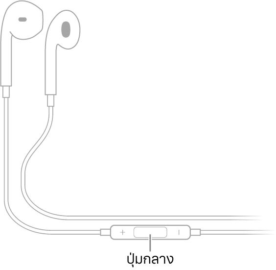 Apple EarPods ปุ่มกลางอยู่ที่สายนำไปสู่ตัวหูฟังด้านขวา