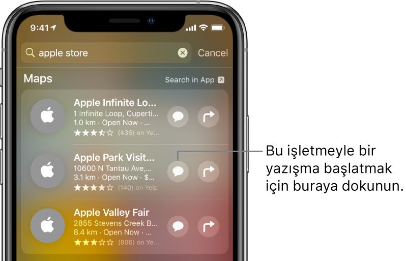 Ara ekranı, Harita için bulunan öğeleri gösteriyor. Her öğe kısa bir açıklama, puan veya adres ve her web sitesi bir URL gösteriyor. İkinci öğe, Apple Store için bir iş yeriyle sohbet başlatmak amacıyla dokunabileceğiniz bir düğme gösteriyor.