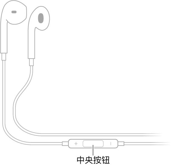 Apple EarPods,其中央按钮位于连接右侧耳罩的耳机线上。