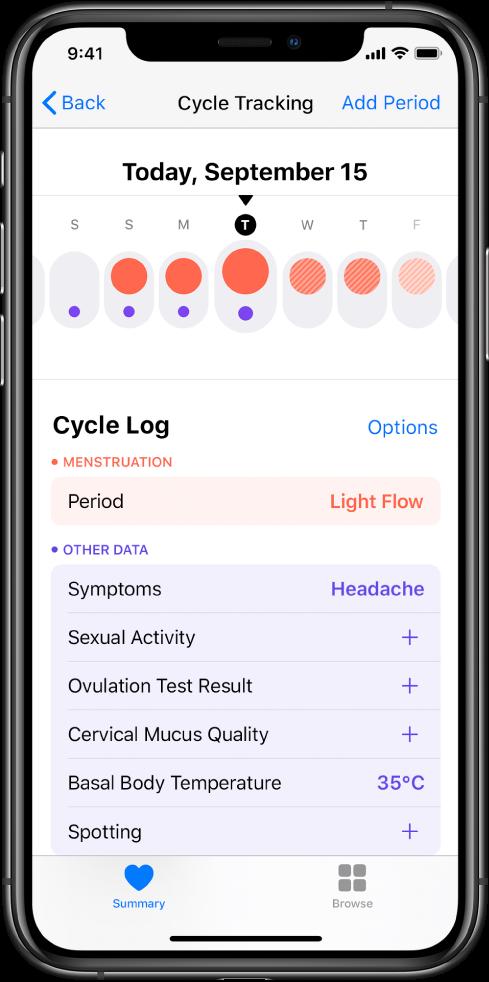 「健康」App 中的「經期追蹤」畫面。
