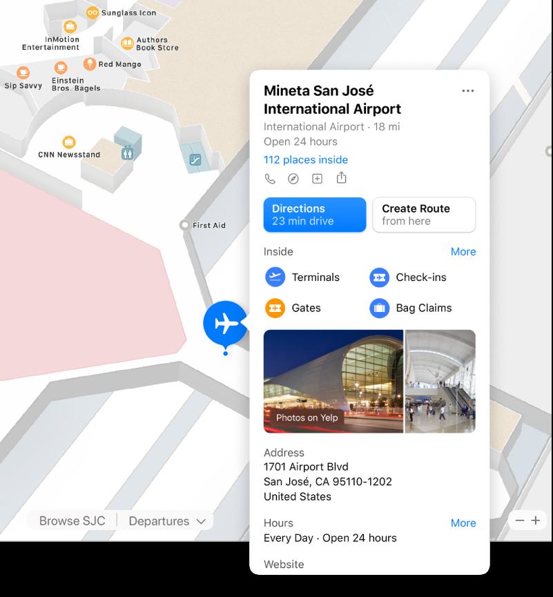 خريطة لمطار من الداخل، بها معلومات حول المطار بما في ذلك الاتجاهات والمطاعم والمتاجر والمزيد.
