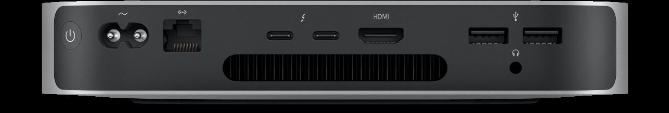 Mac mini set bagfra med dens forskellige porte.