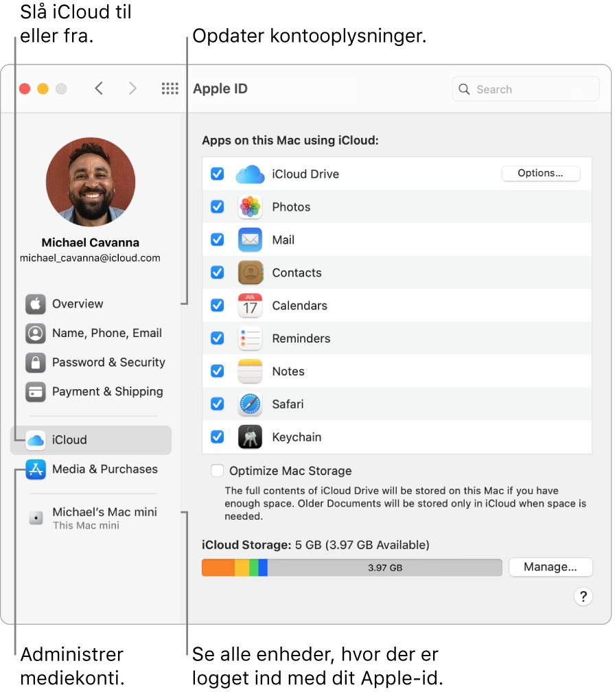 Vinduet Apple-id i Systemindstillinger. Klik på et emne i indholdsoversigten for at opdatere dine kontooplysninger, slå iCloud til eller fra, administrere mediekonti og se alle enheder, der er logget ind med dit Apple-id.