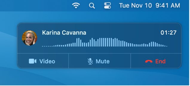 En del af en Mac-skærm med notifikationsvinduet om opkald.