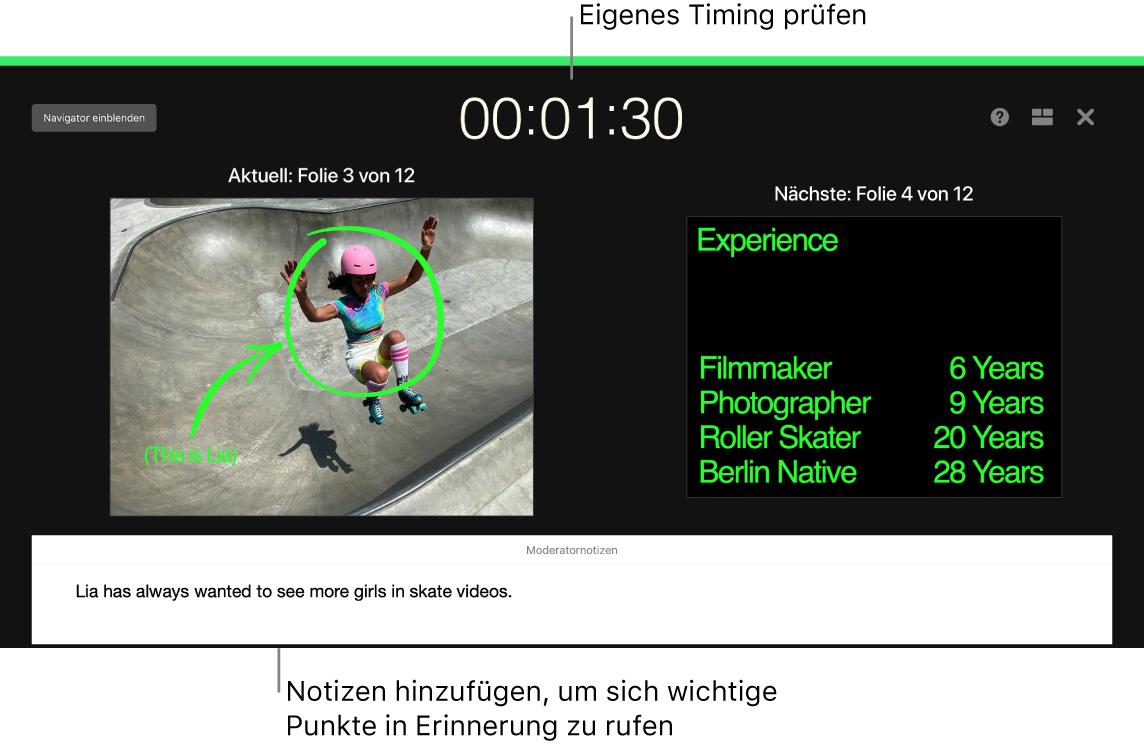 """Keynote-Fenster mit der Funktion """"Präsentation testen""""."""