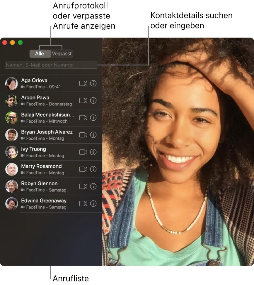 Ein FaceTime-Fenster mit der Option für Video- oder Audioanrufe, mit dem Suchfeld für die Eingabe oder Suche nach Kontaktinfos und einer Liste der letzten Anrufe