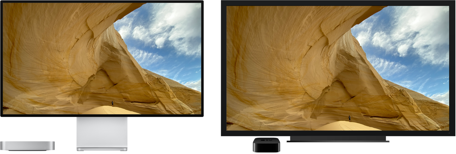 Ein Mac mini, dessen Inhalt auf einem großen HDTV-Gerät über ein AppleTV gespiegelt wird