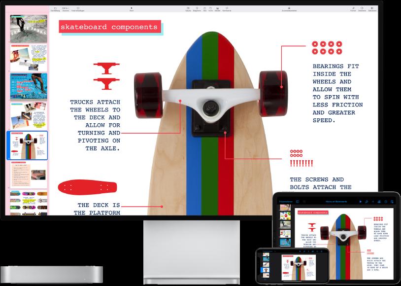 Mac mini neben verschiedenen Zubehörgeräten, die alle auf dieselben iCloud-Inhalte zugreifen.