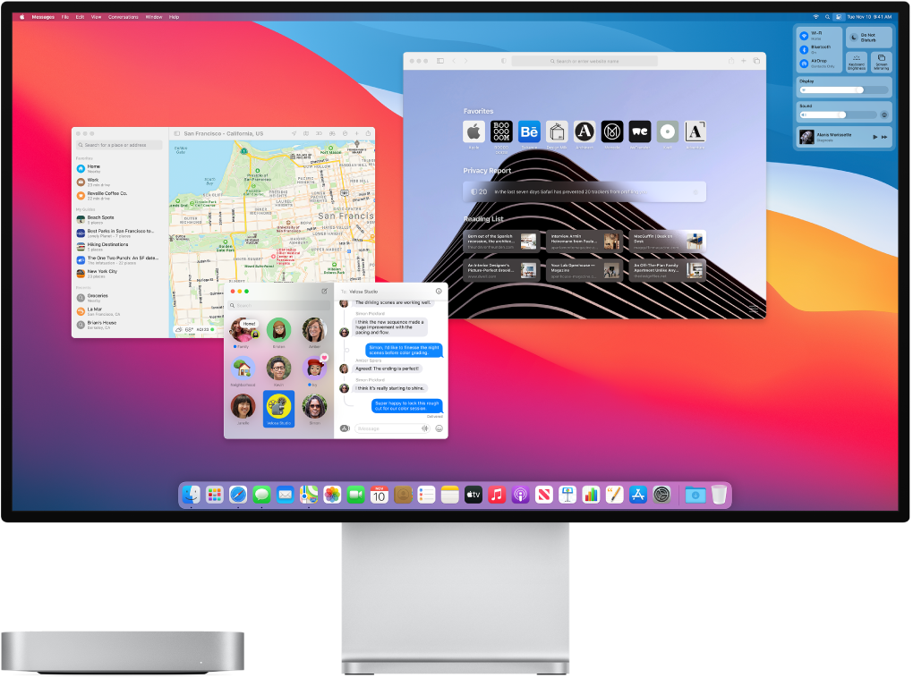 An Mac mini connected to a display, with the desktop showing Control Center and several open apps.