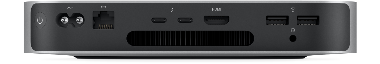 The back view of Mac mini and its various ports.