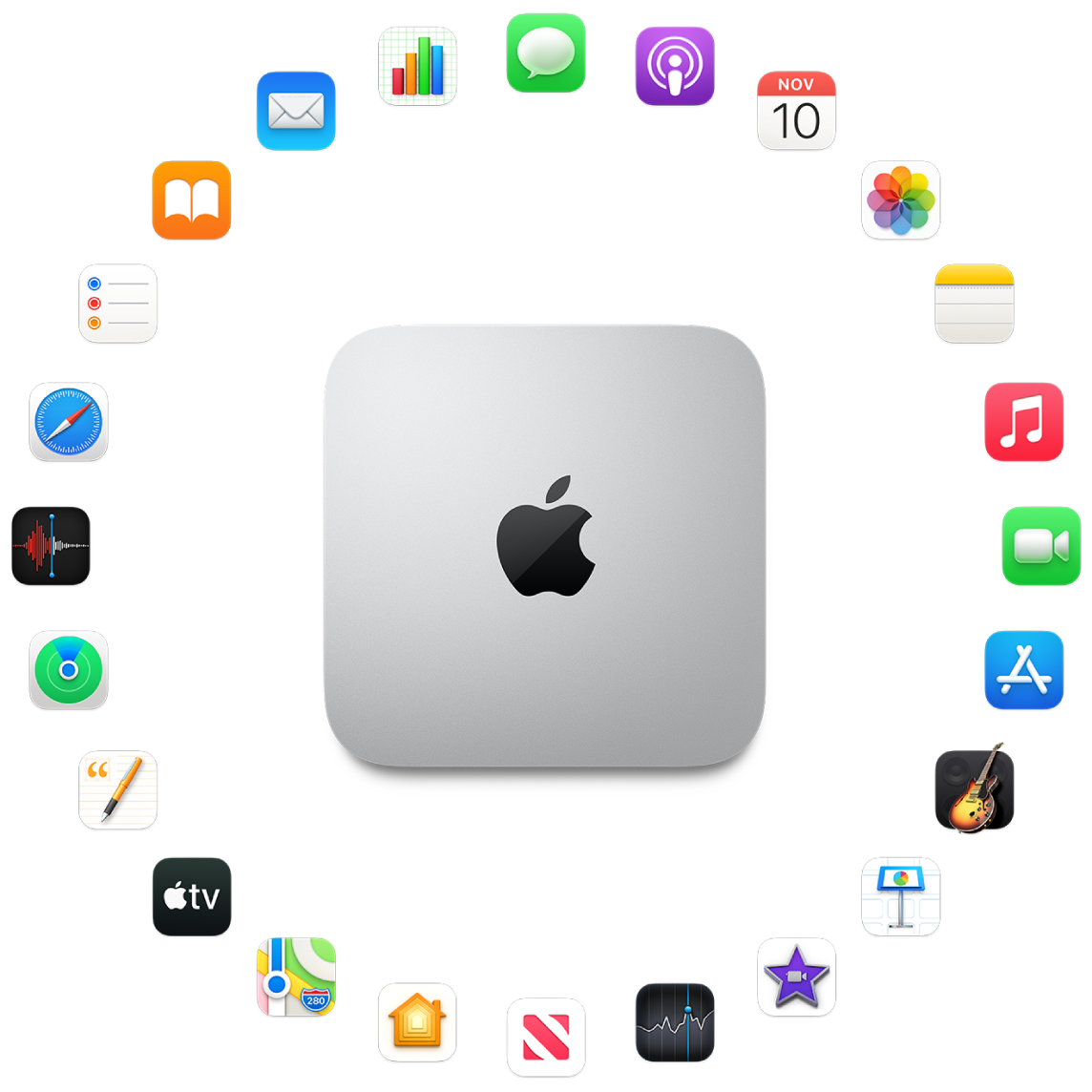 A Mac mini surrounded by the icons for the built-in apps described in the following sections.
