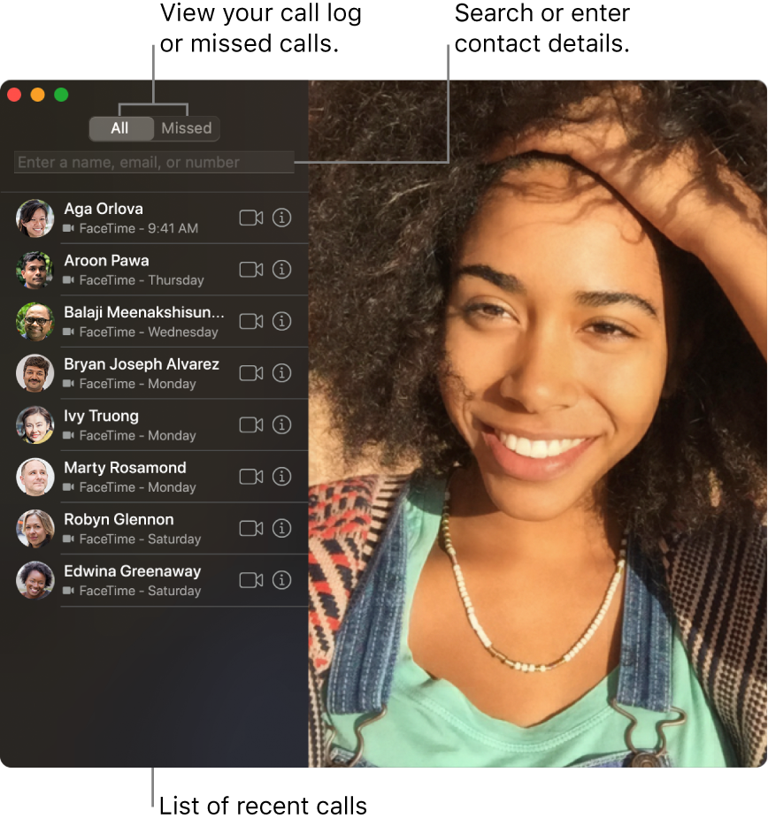 A FaceTime window showing how to make a video or audio call, use the search field to enter or search for contact details, and view the list of recent calls.