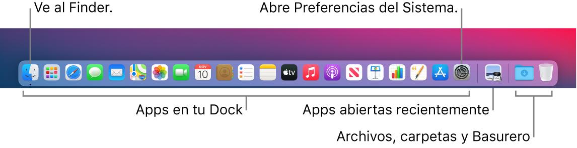 El Dock mostrando el Finder, Preferencias del Sistema y la línea que divide las apps de las carpetas y archivos.