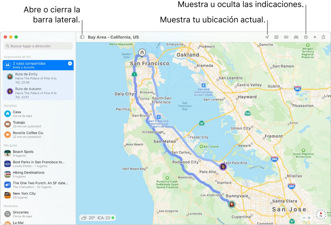 Una ventana de Mapas mostrando cómo obtener indicaciones haciendo clic en un destino en la barra lateral, cómo abrir y cerrar la barra lateral, y cómo ver tu ubicación actual en el mapa.