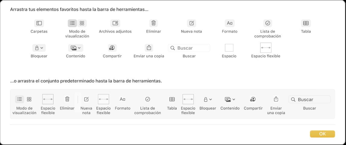 Una ventana de Notas mostrando las opciones disponibles para personalizar la barra de herramientas.