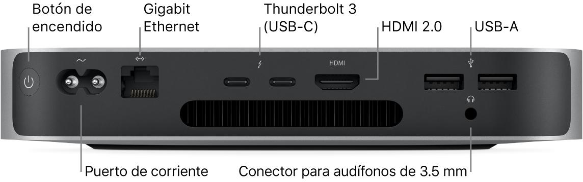 El reverso de la Macmini con el chipM1 deApple mostrando el botón de encendido, el puerto de corriente, el puertoGigabitEthernet, dos puertos Thunderbolt3(USB-C), un puertoHDMI, dos puertos USB-A y un puerto para audífonos de 3.5mm.
