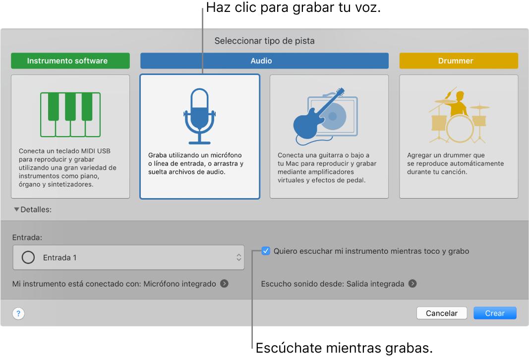 Panel de instrumentos de GarageBand mostrando dónde hacer clic para grabar voz y cómo escucharte a ti mismo mientras grabas.
