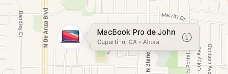 Un primer plano del icono de información para el MacBookPro de John.