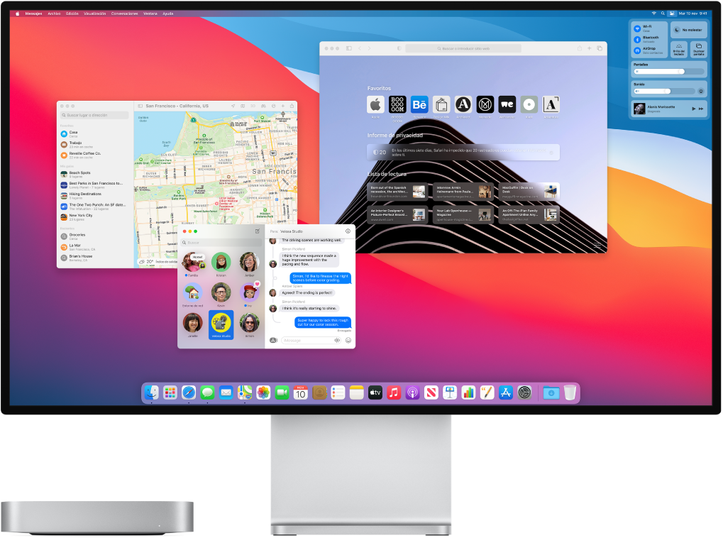 Un Macmini conectado a una pantalla que muestra el escritorio con el centro de control y varias apps abiertas.