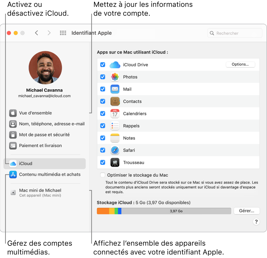 La sous-fenêtre «Identifiant Apple» de «Préférences Système». Cliquez sur un élément de la barre latérale pour mettre à jour les données de votre compte, activer ou désactiver iCloud, gérer les comptes multimédias et voir tous les appareils connectés avec votre identifiantApple.