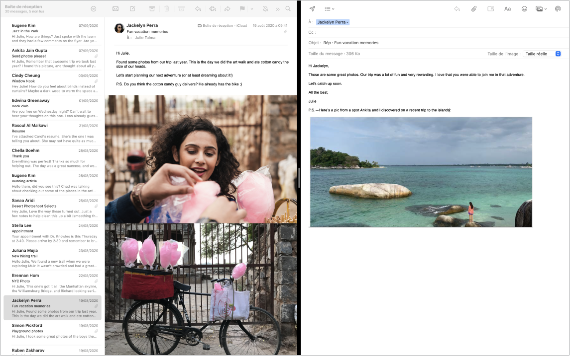 Une fenêtre Mail en écran scindé, affichant deux messages côte à côte.