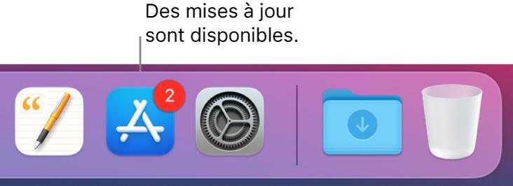 Section du Dock affichant l'icône de l'AppStore avec une pastille, ce qui indique que des mises à jour sont disponibles.