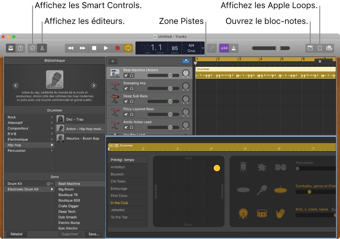 Une fenêtre de GarageBand affichant les boutons pour accéder aux Smart Controls, aux éditeurs, aux notes et aux boucles Apple Loops. Elle présente également l'affichage des pistes.