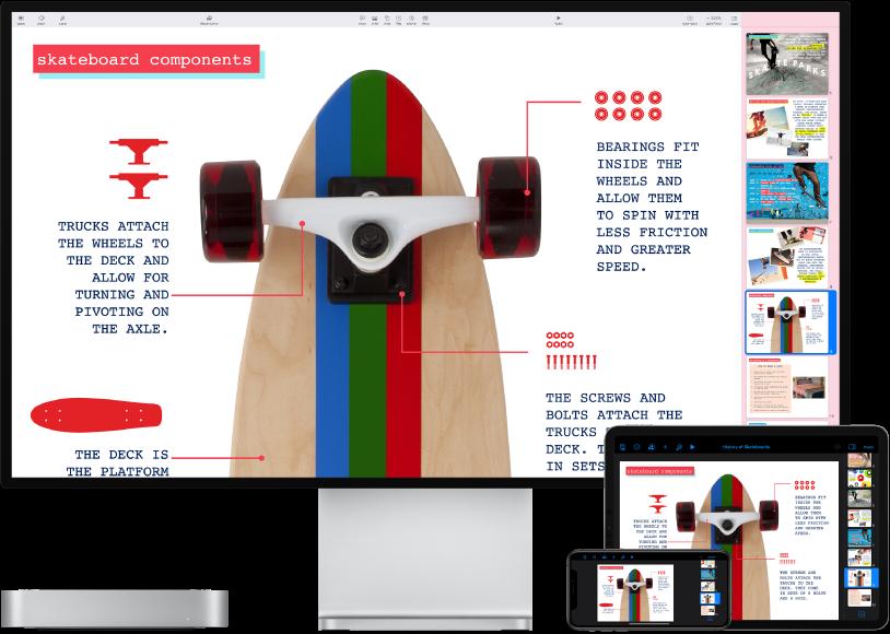 Mac mini ליד מכשירים שונים המציגים כולם את אותו תוכן ב-iCloud.