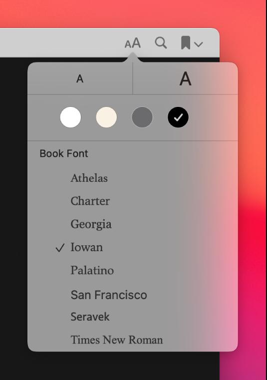 Prozor aplikacije Knjige prikazuje izbornik Izgled.