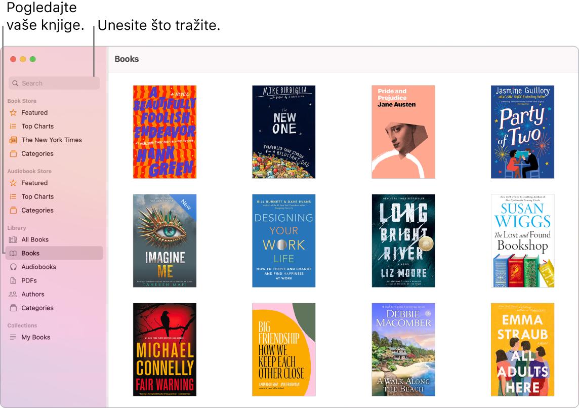 Prozor aplikacije Knjige prikazuje načine prikaza knjiga, pregledavanja pohranjenog sadržaja i pretraživanja.