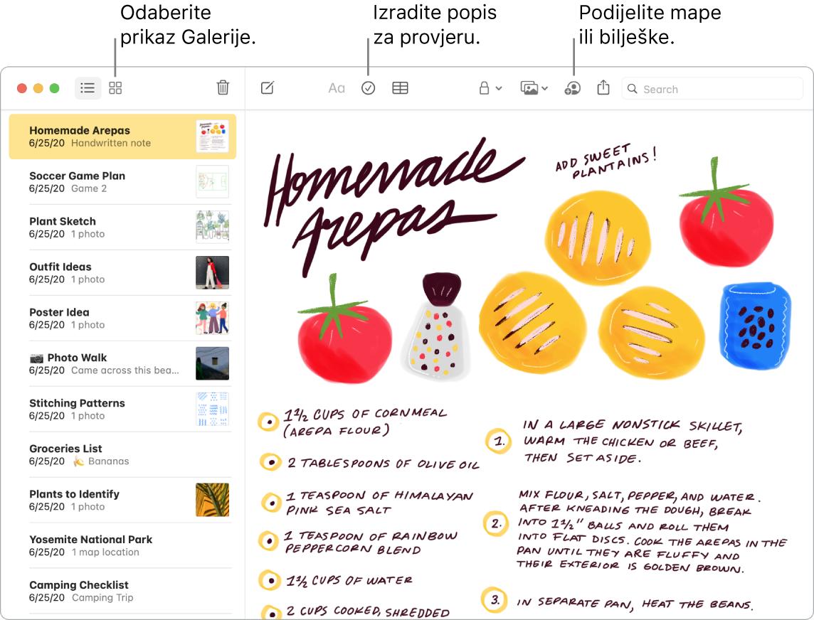 Prozor aplikacije Bilješke s prikazom Galerije s oblačićima na tipke Prikaz galerije, Popis za provjeru i Dijeljenje mape.