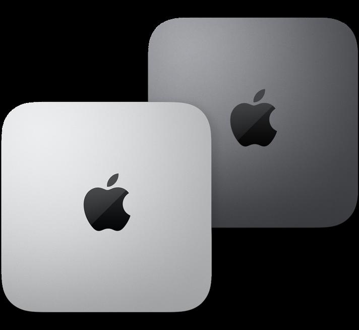 Prikaz gornjeg dijela Mac mini računala.