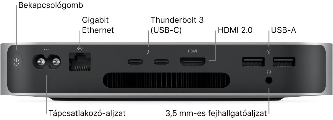 Az Apple M1 chippel rendelkező Mac mini hátulja a bekapcsológombbal, tápcsatlakozóval, Gigabit Ethernet-porttal, kettő Thunderbolt3 (USB-C) porttal, HDMI-porttal, két USB-A-porttal, és a 3,5mm-es fejhallgató-csatlakozóval.