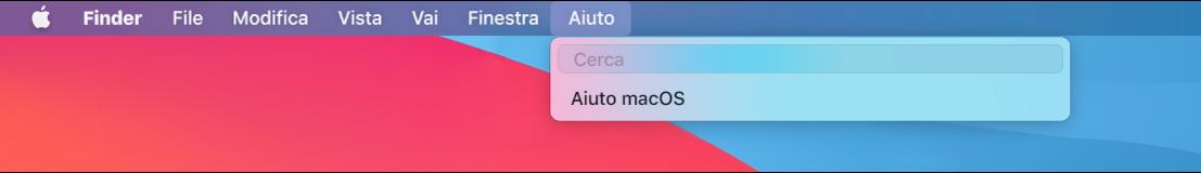 Una vista parziale della scrivania con il menu Aiuto aperto che mostra le opzioni di menu Cerca e AiutomacOS.