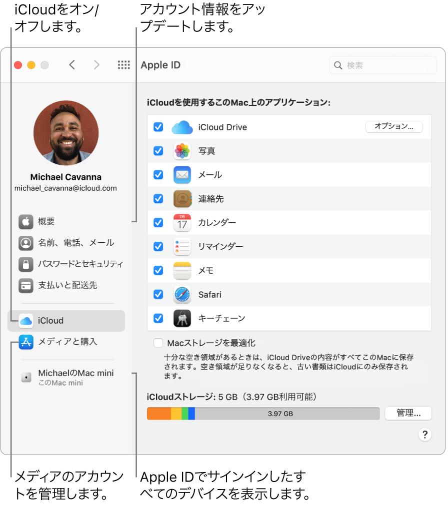 「システム環境設定」の「Apple ID」パネル。サイドバーの項目をクリックして、アカウント情報をアップデートしたり、iCloudのオン/オフを切り替えたり、メディアのアカウントを管理したり、Apple IDでサインインしているすべてのデバイスを確認したりできます。