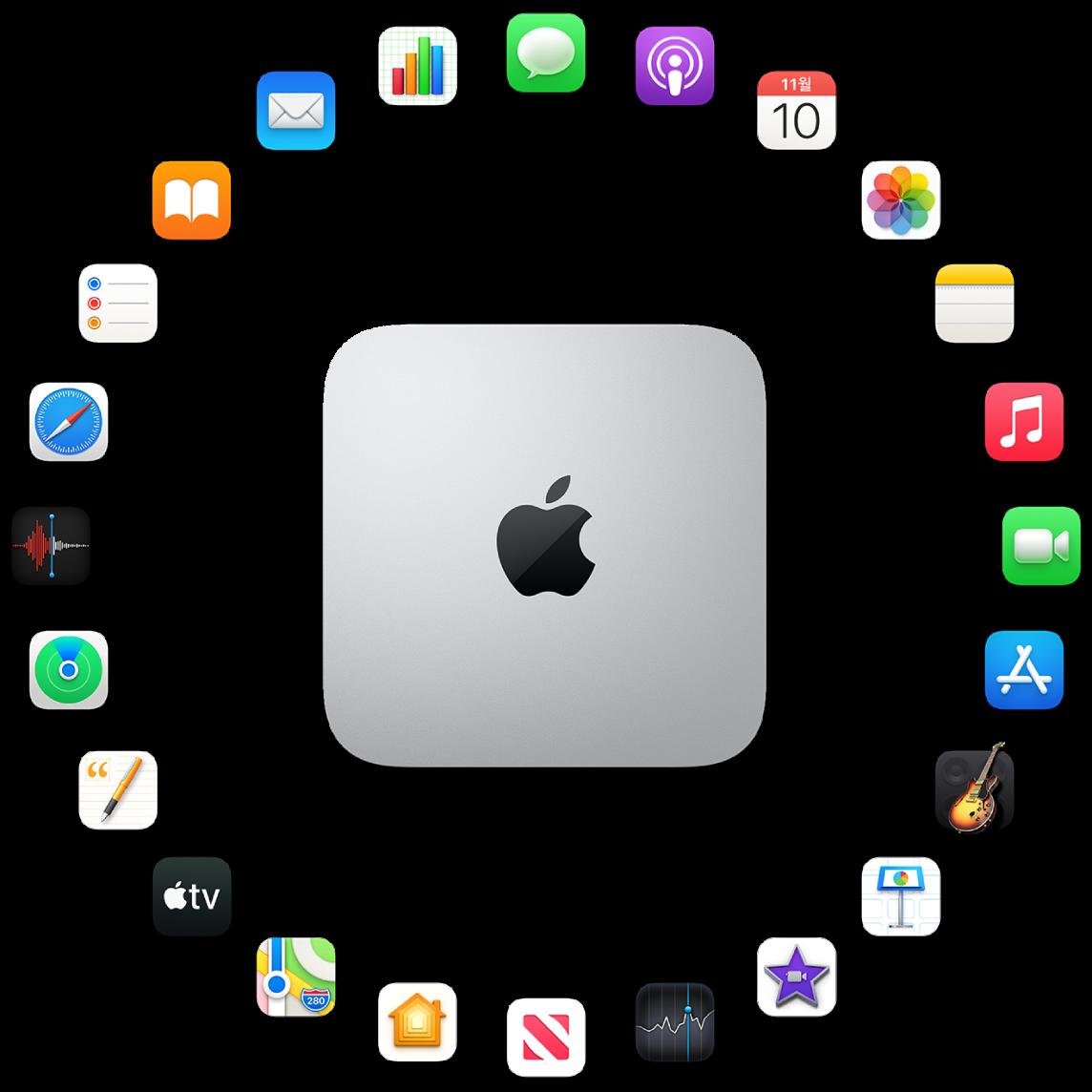 다음 섹션에서 설명하려는 내장 앱의 아이콘으로 둘러싸여 있는 Macmini.