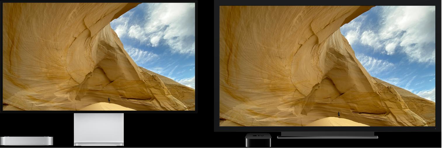 AppleTV를 사용하여 대형 HDTV에 콘텐츠가 미러링되어 있는 Mac mini.