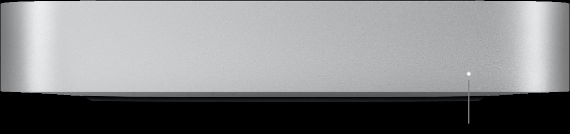 De voorkant van een Macmini met daarop het statuslampje.