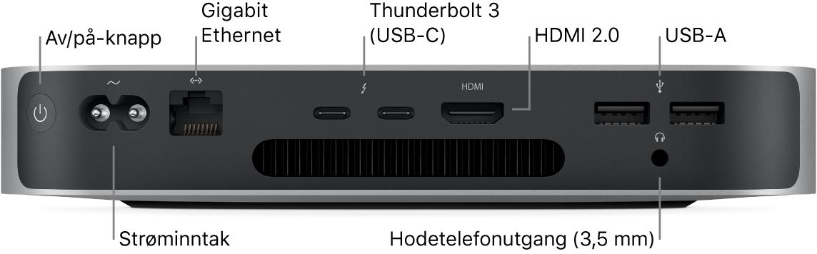 Baksiden av Mac mini med Apples M1-chip der du ser av/på-knapp, strøminntak, Gigabit Ethernet-port, to Thunderbolt3-porter (USB-C), HDMI-port, to USB-A-porter og hodetelefonutgangen på 3,5 mm.
