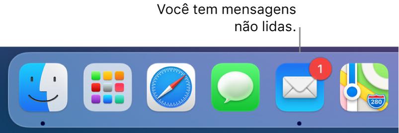Seção do Dock exibindo o ícone do app Mail, com um aviso indicando o número de mensagens não lidas.