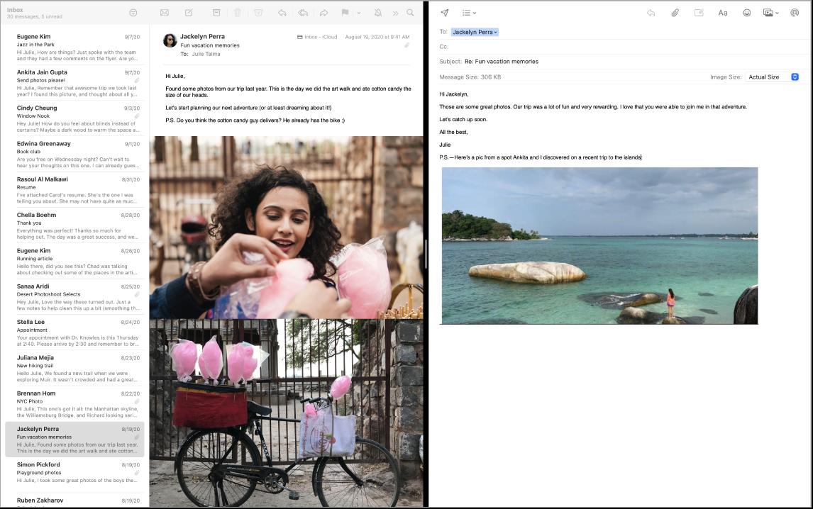 Uma janela do Mail em tela dividida, mostrando duas mensagens lado a lado.
