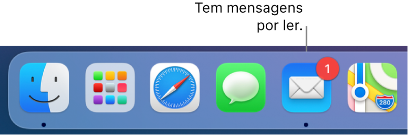 Uma secção da Dock a mostrar o ícone da aplicação Mail com um emblema, a indicar o número de mensagens não lidas.