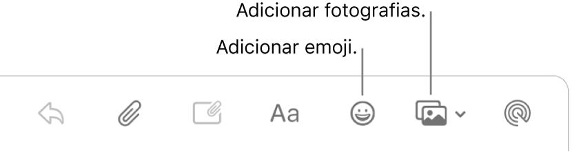 Uma janela de composição a mostrar os botões de emoji e fotografias.