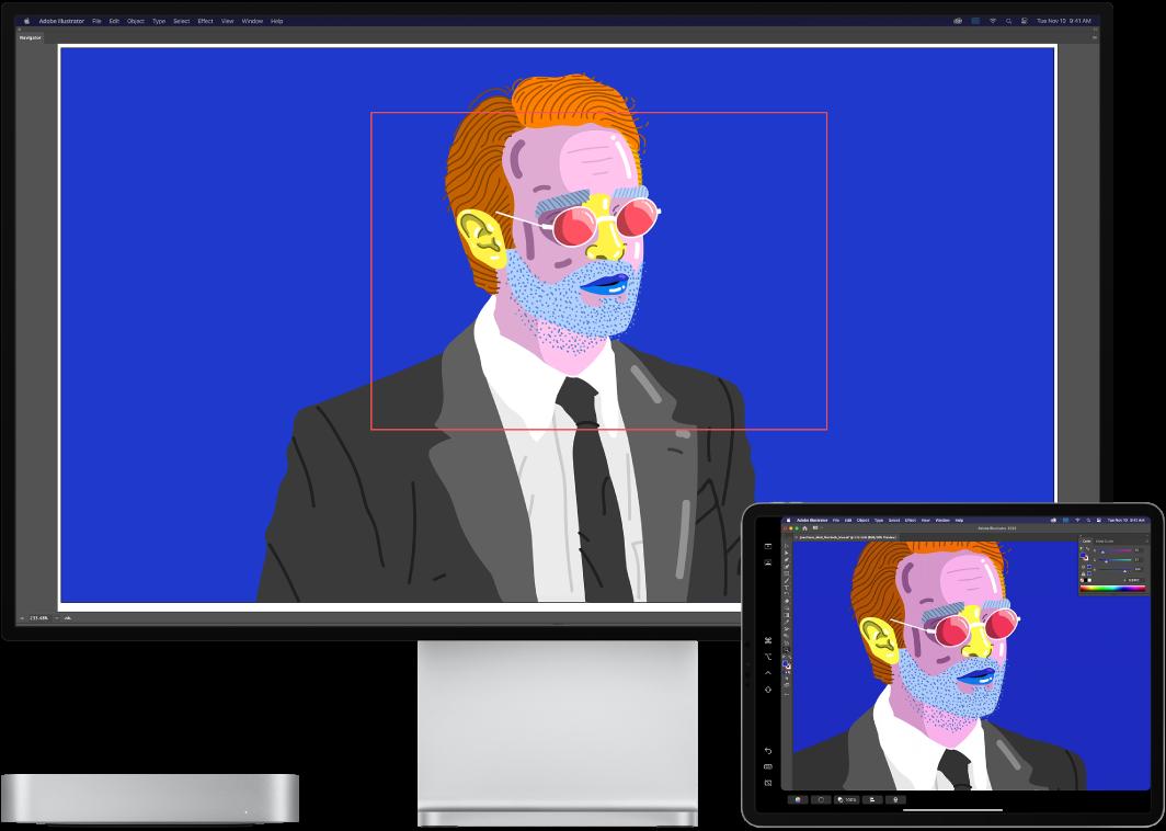 Um Macmini e um iPad lado a lado. O Macmini mostra uma imagem artística na janela do navegador do Illustrator. O iPad mostra a mesma imagem artística na janela do documento Illustrator, rodeada de barras de ferramentas.