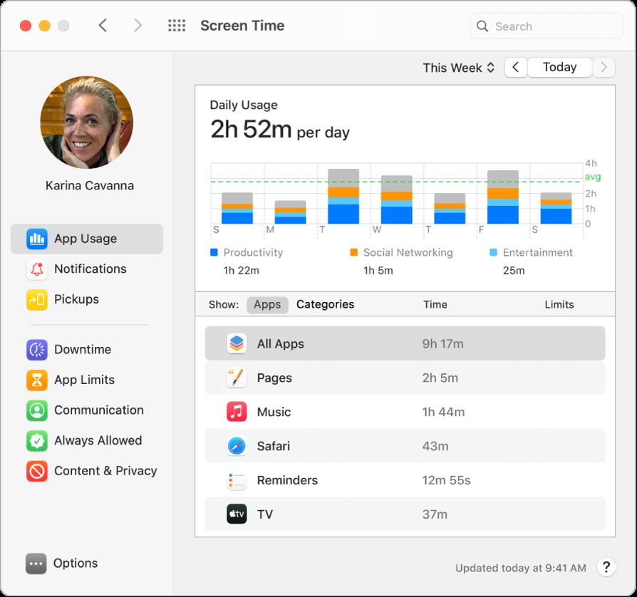 O fereastră Timp de utilizare afișând perioada de timp petrecută cu diverse aplicații.