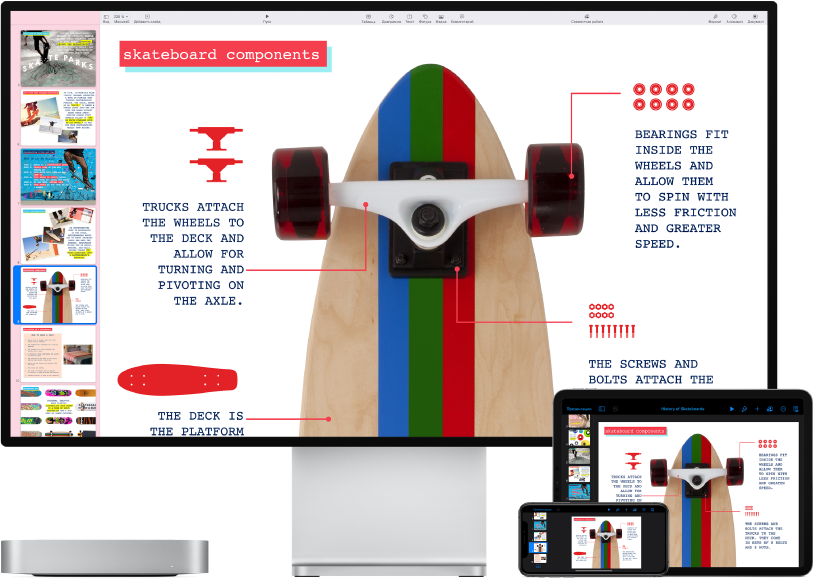 Macmini рядом с различными устройствами, на которых отображается один и тот же контент iCloud.
