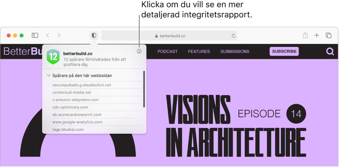 Ett Safari-fönster som visar webbplatsinställningar, bland annat Använd läsaren när den är tillgänglig, Aktivera innehållsblockerare, Sidzoom, Spela automatiskt samt Popupfönster.