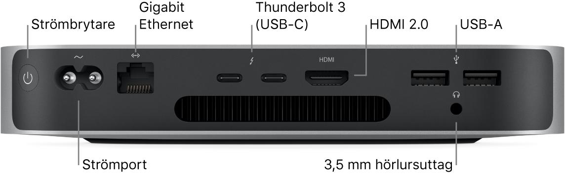 Baksidan på Mac mini med Apples M1-krets som visar strömbrytare, strömport, Gigabit Ethernet-port, två Thunderbolt3 (USB-C)-portar, HDMI-port, två USB-A-portar och ett 3,5 mm hörlursuttag.