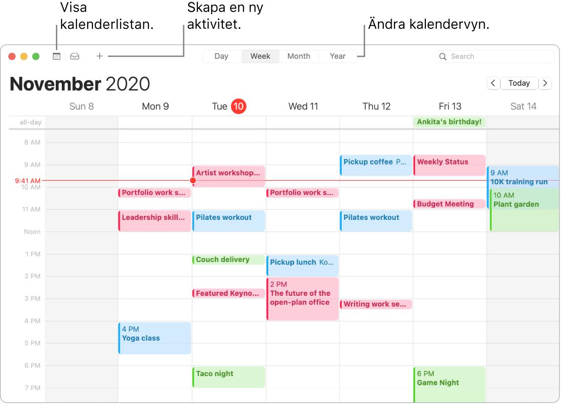 Ett Kalender-fönster som illustrerar hur du skapar en aktivitet, visar kalenderlistan och väljer dag-, vecko-, månads- eller årsvyn.